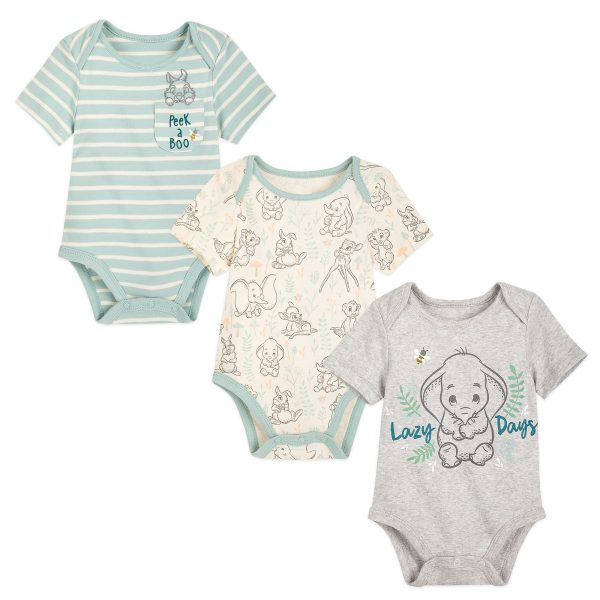 Disney Store Dumbo, Bambi și Simba Baby Body Suits, Set de 3