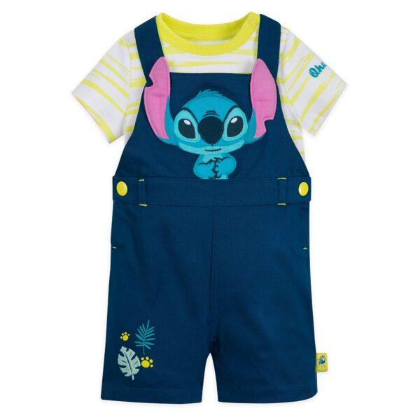 Disney Store Stitch Baby Dungaree și Body Suit Set
